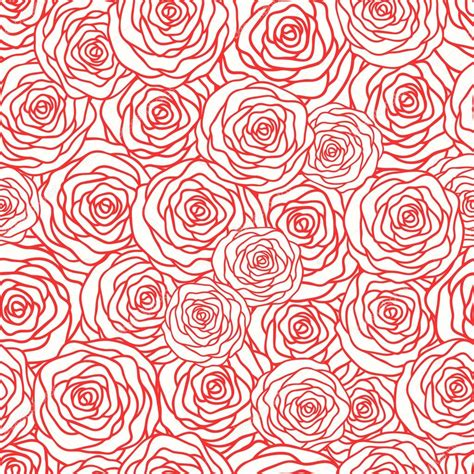 Outline Textiles by Vector Seamless Pattern With Outline Stylized Roses Beautiful Floral Background Can Be Used