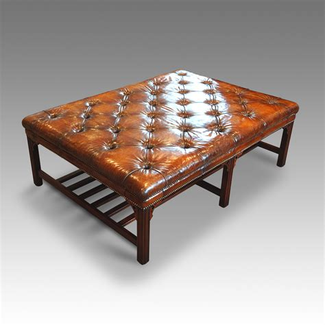 mahogany and leather coffee table hingstons antiques dealers