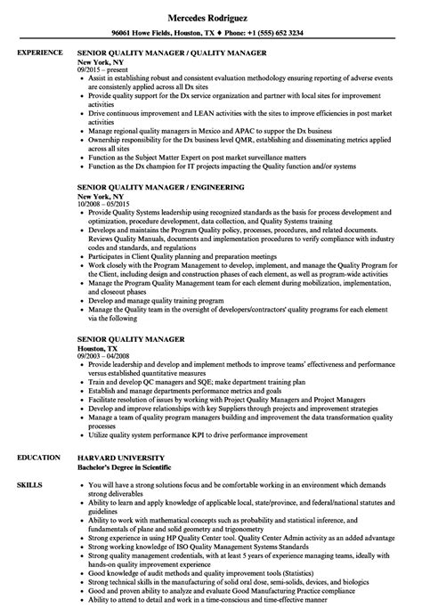 resume for quality control manager qa manager resume senior