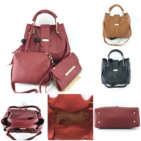 Set Tas Lv Serut 3in1 jual b3015 brown tas serut import set 3in1 grosirimpor