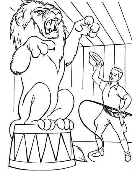 lion tamer coloring page free circus tents coloring pages