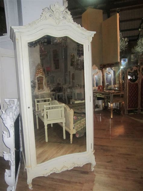 White Shabby Chic Wardrobe by Antique White Mirrored Armoire Wardrobe Shabby Chic Free Delivery Coco54