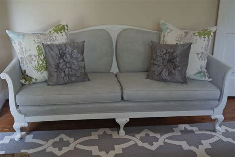 white sofa with wood trim antique sofa fabric painted dove gray with