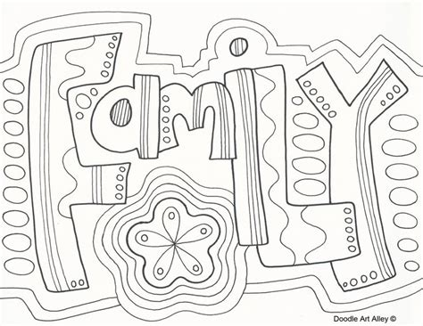word coloring pages quot family quot doodle coloring page zentangle word wuote