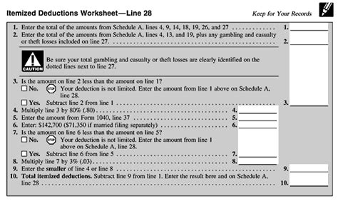Schedule A Itemized Deductions Worksheet by Itemized Deductions Worksheet Lesupercoin Printables