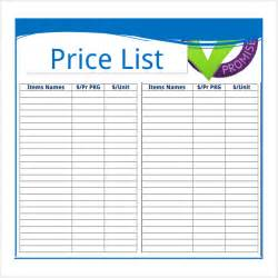 price list design template sle price sheet 7 exles format