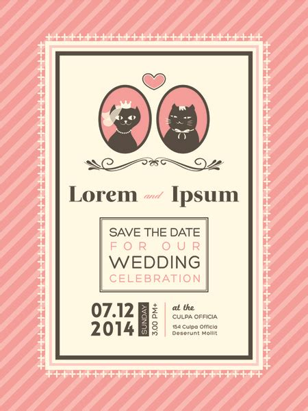 Wedding Invitation Card Eps by Exquisite Vector Wedding Invitation Cards Set Free Vector
