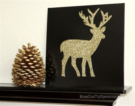 glitter deer silhouette canvas happiness  homemade