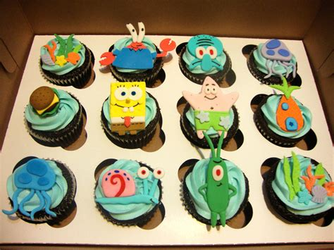 Handmade Cupcake Toppers - spongebob squarepants handmade fondant cupcake toppers