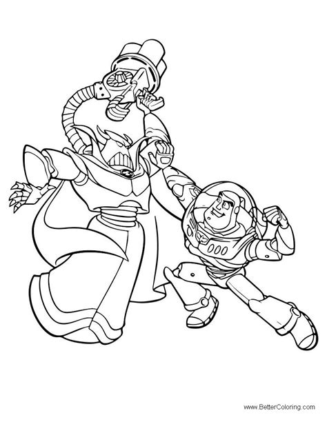 color buzz buzz lightyear coloring pages fighting free printable