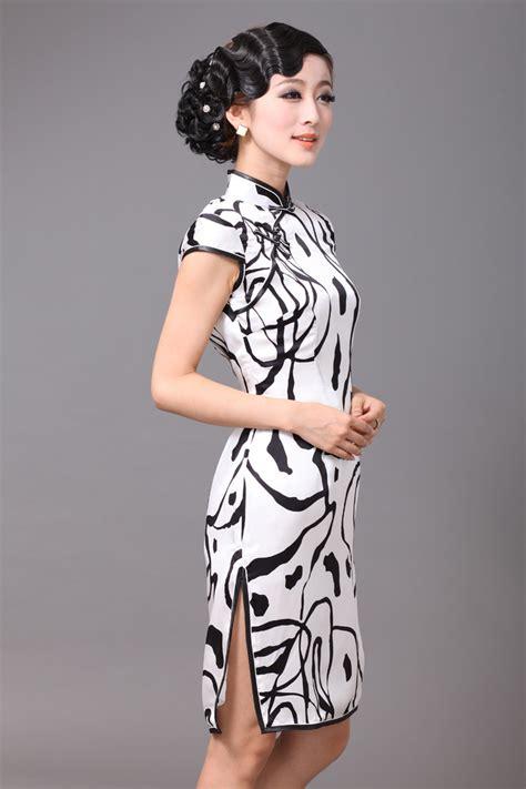 Cheongsam Dress White black and white classical silk cheongsam qipao cheongsam