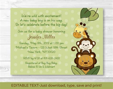 Jungle Animals Safari Friends Printable Baby Shower Invitation Editable Pdf Ebay Jungle Animal Invitation Templates
