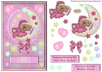 decoupage numbers baby decoupage card front on craftsuprint designed by