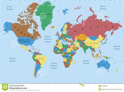 world political map with all countries world map political detailed stock image image 56458817