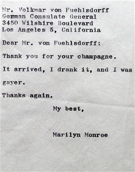 Thank You Letter For Bad Marilyn S Thank You Letter To The German Consulate For Chagne Bad Marilyn Etc