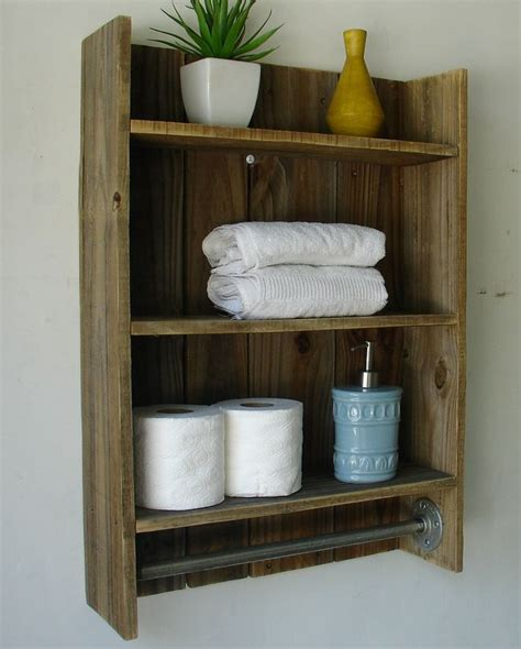 rustic reclaimed wood 3 tier bathroom shelf with towel bar