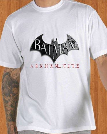 T Shirt Batman Arkham City Bat002 batman t shirt arkham city white ficonco merchandise