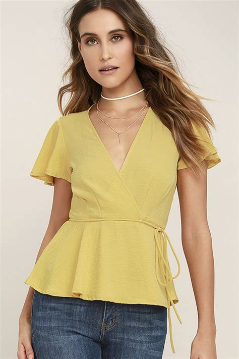 lovely yellow top wrap top sleeve top blouse 44 00
