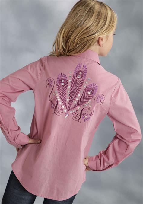 Blouse Novita roper 174 pink embroidered sequinsls western show shirt