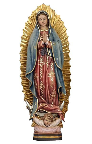 lade di sale rosa our of guadalupe statue wood carved