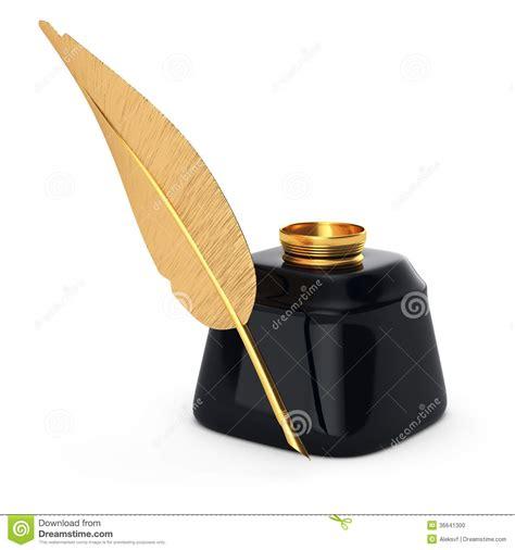 la pluma de oro arte pluma y tintero de oro de la escritura foto de archivo imagen 36641300