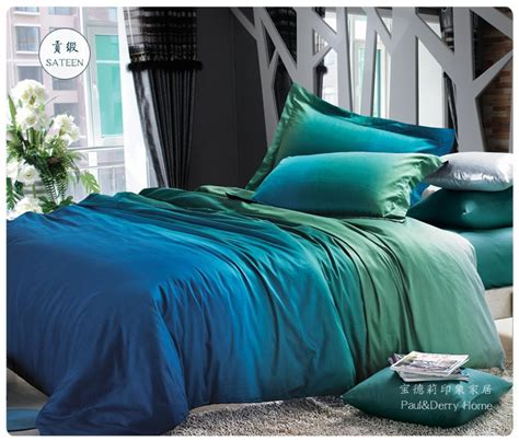 King Size Bedding In Blue Aliexpress Buy Blue Green Gradient Bedding Sets