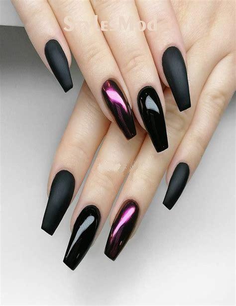 premium black  xtreme matte nail designs