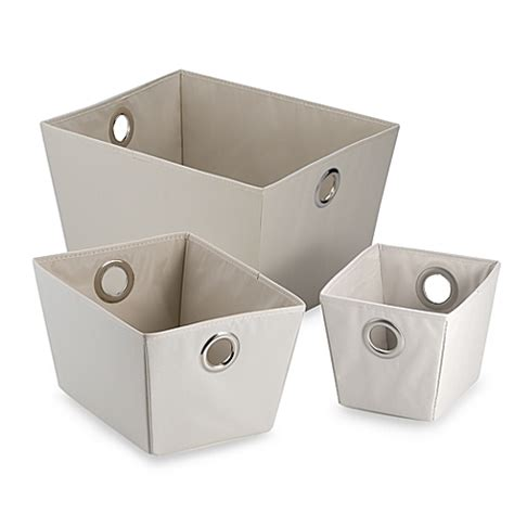bed bath and beyond storage bins studio 3b heavyweight grommet tote in flax bed bath