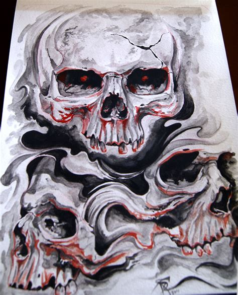 skull tattoo cover by boogywoogy on deviantart