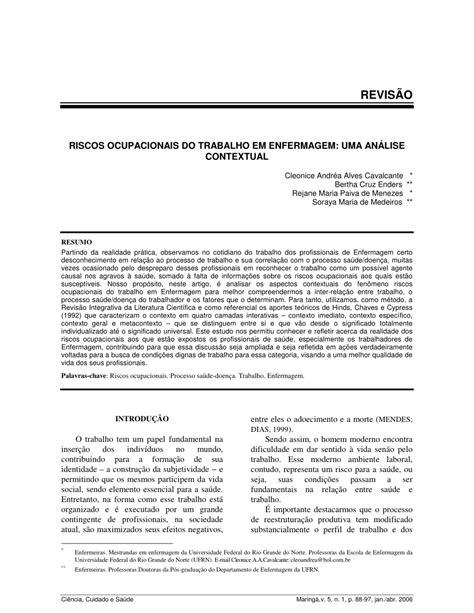 (PDF) Riscos ocupacionais do trabalho em enfermagem: uma