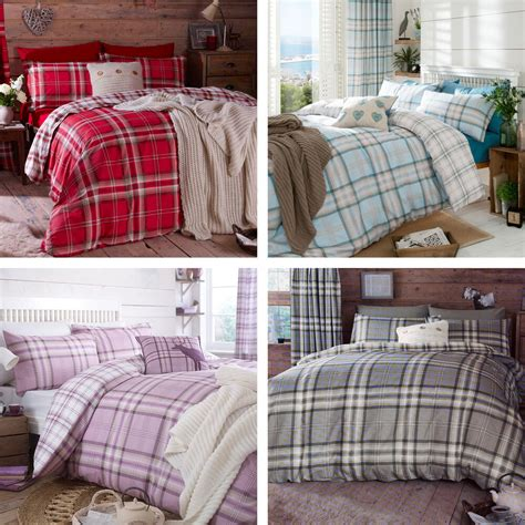 catherine lansfield catherine lansfield kelso tartan check cotton rich duvet quilt cover bedding set ebay
