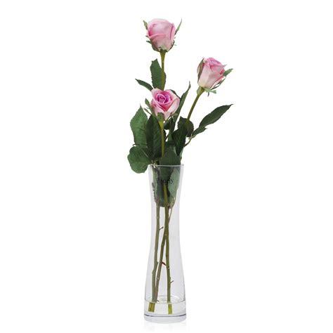 rosa in vaso 3 boccioli di rosa in vaso di vetro stretto e lungo qvc