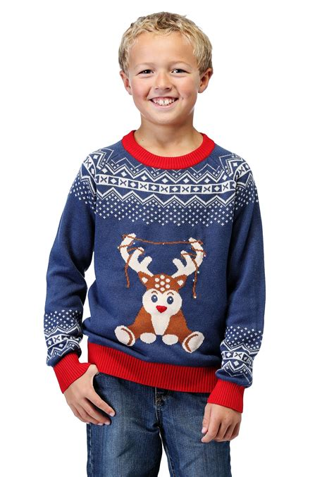 Reindeer Led Light Up Ugly Christmas Sweater For Boys Sweaters Light Up