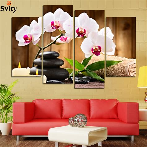 4 pcs no frame pink flowers wall picture modern home