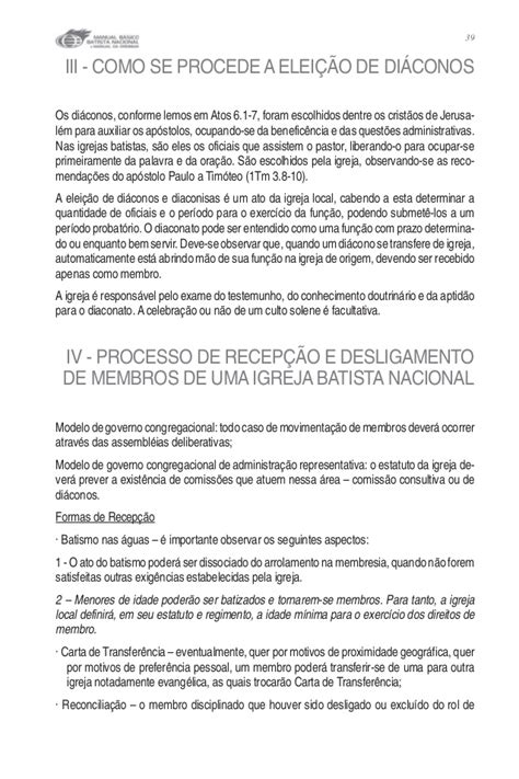 carta de transferencia entre igrejas batistas manual basico batista nacional