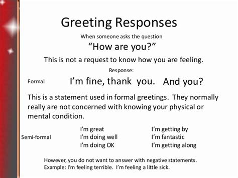 7 Worst Responses To I You 2 by Lesson1 Greetings And Introductions