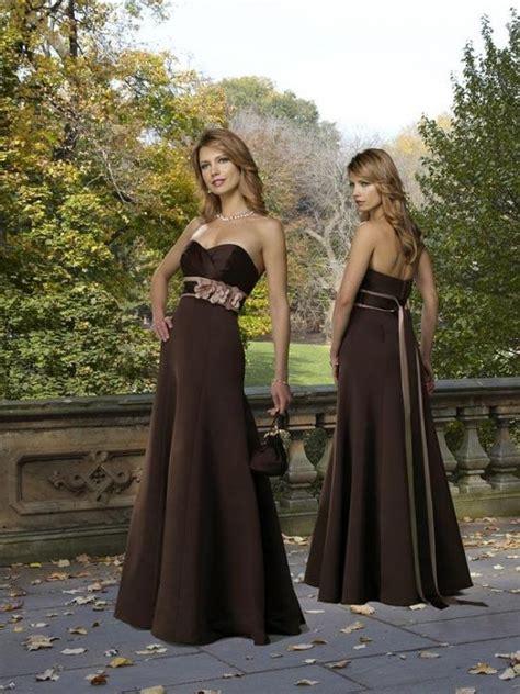chocolate bridesmaid dress strapless floor length belt