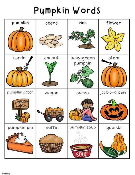 pumpkin color words for fall kinderland collaborative 97 best writing center lists images on pinterest writing