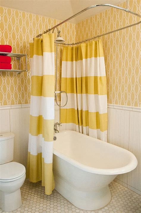 bathroom ideas with shower curtain wallpaper and shower curtains bring yellow to the small bathroom decoist