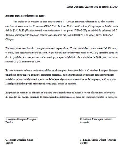 Ejemplo De Carta De Prestamo De Dinero | carta de pr 233 stamo de dinero gt formatos y ejemplos