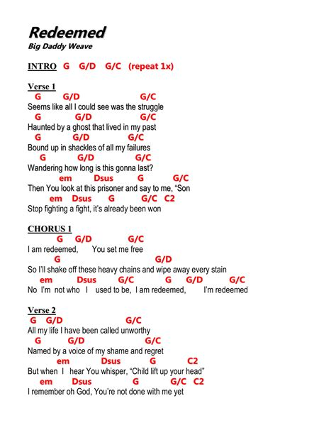 Awesome Redeemed Guitar Chords Image - Beginner Guitar Piano Chords ...