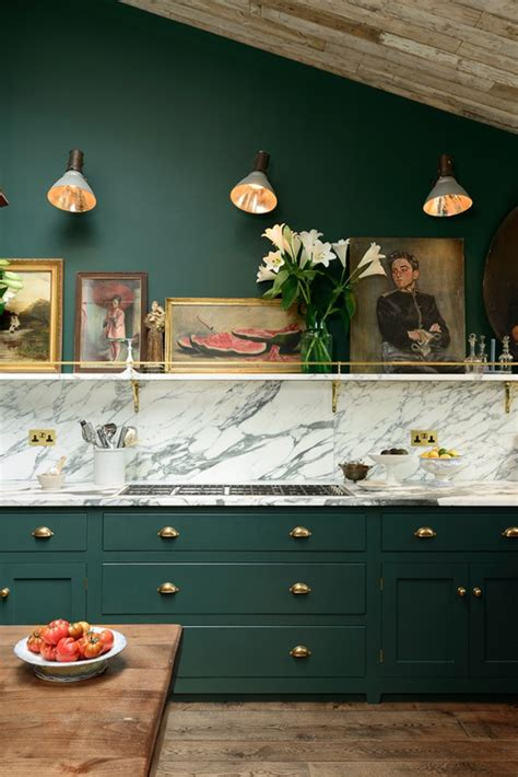 Green Kitchen Furniture Green Marble And Brass Kitchen Design Digsdigs