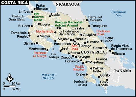 costa rica map with cities costa rica travel guide maps san jose volcan arenal