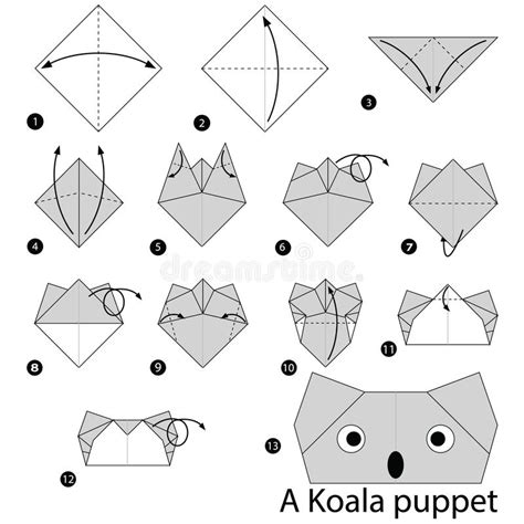 How To Make A Origami Puppet - step by step how to make origami a koala