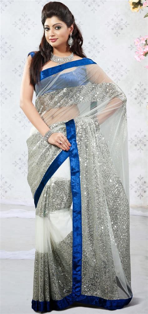 Villa Blouse Silver Zv svd19v27224 silver white net saree with blouse shopping