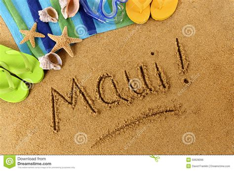 Essay About Hawaii by Hawaii Sand Word Writing Stock Photo Image 50628096