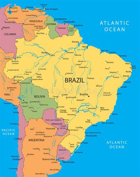 neighboring countries of brazil вектор карты бразилии иллюстрация вектора иллюстрации