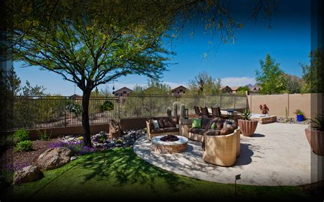 phoenix backyard landscaping shade trees near patio share outdoor spaces