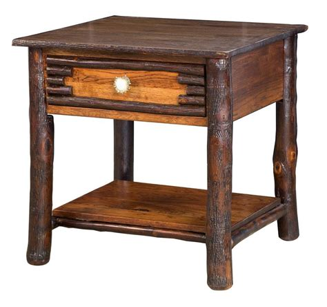 Rustic Accent Table Amish Wildwood Rustic Hickory End Table With Antler Pulls