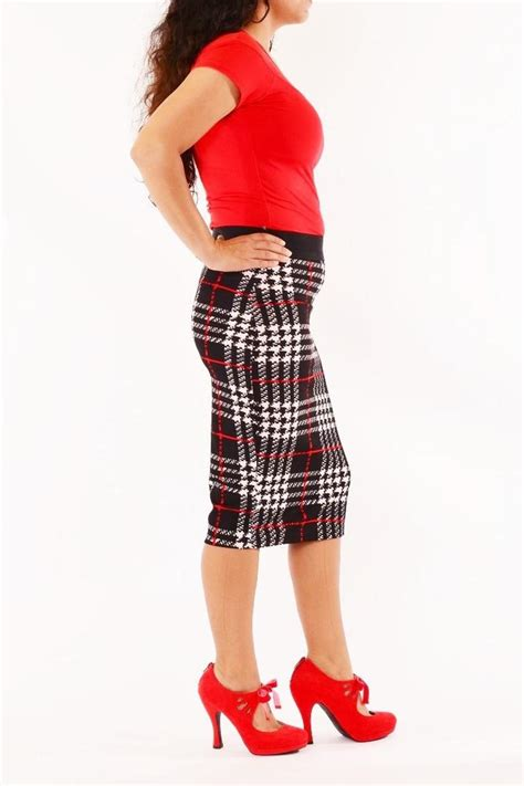 jon plaid pencil skirt from indiana by uptown retro